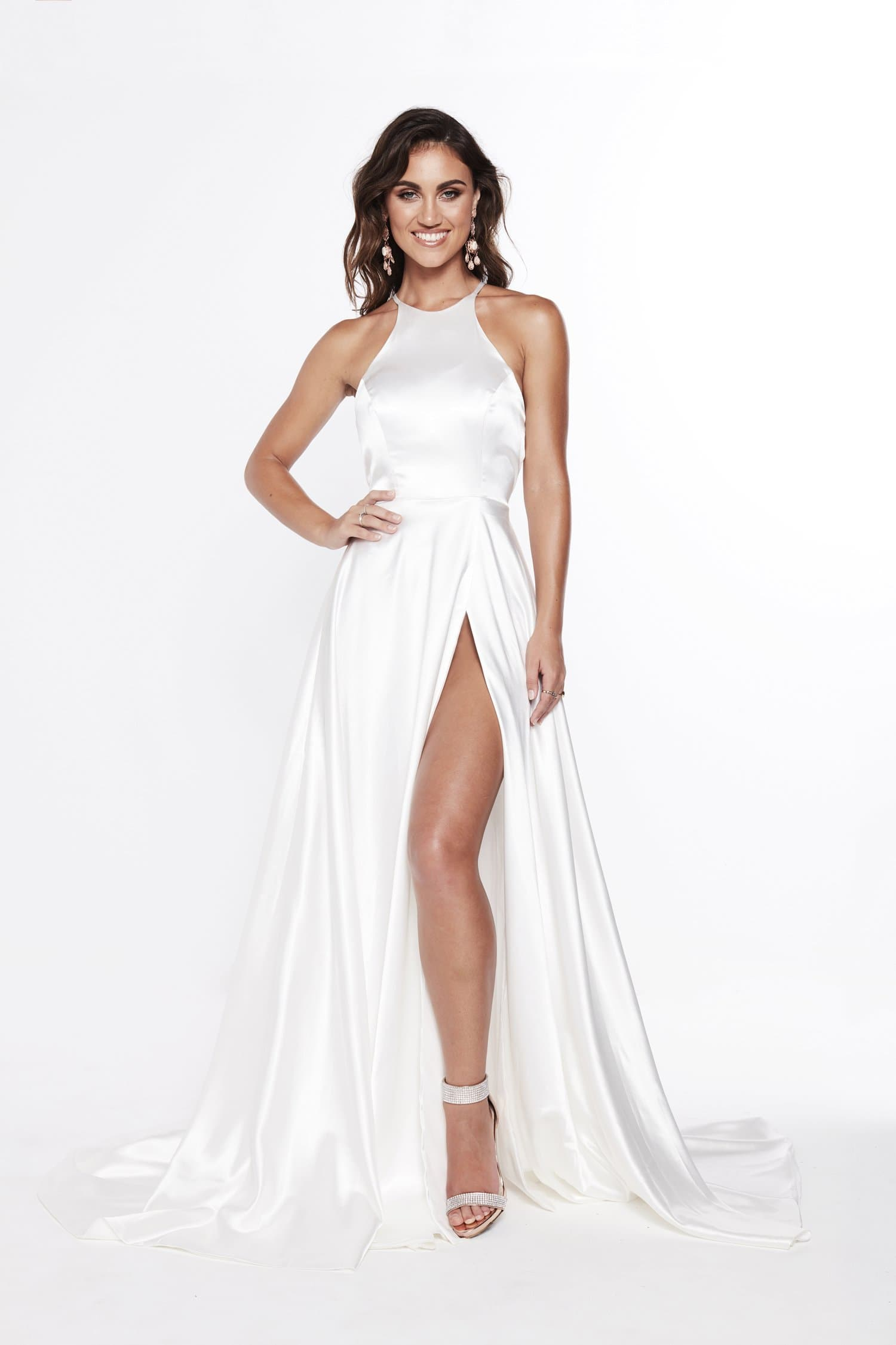 A&N Luxe Romina Satin Gown - White