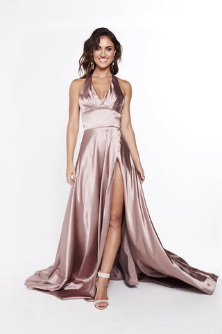 A&N Abigail - Mauve Halter Neck Dress with Hidden Slit and Low Back