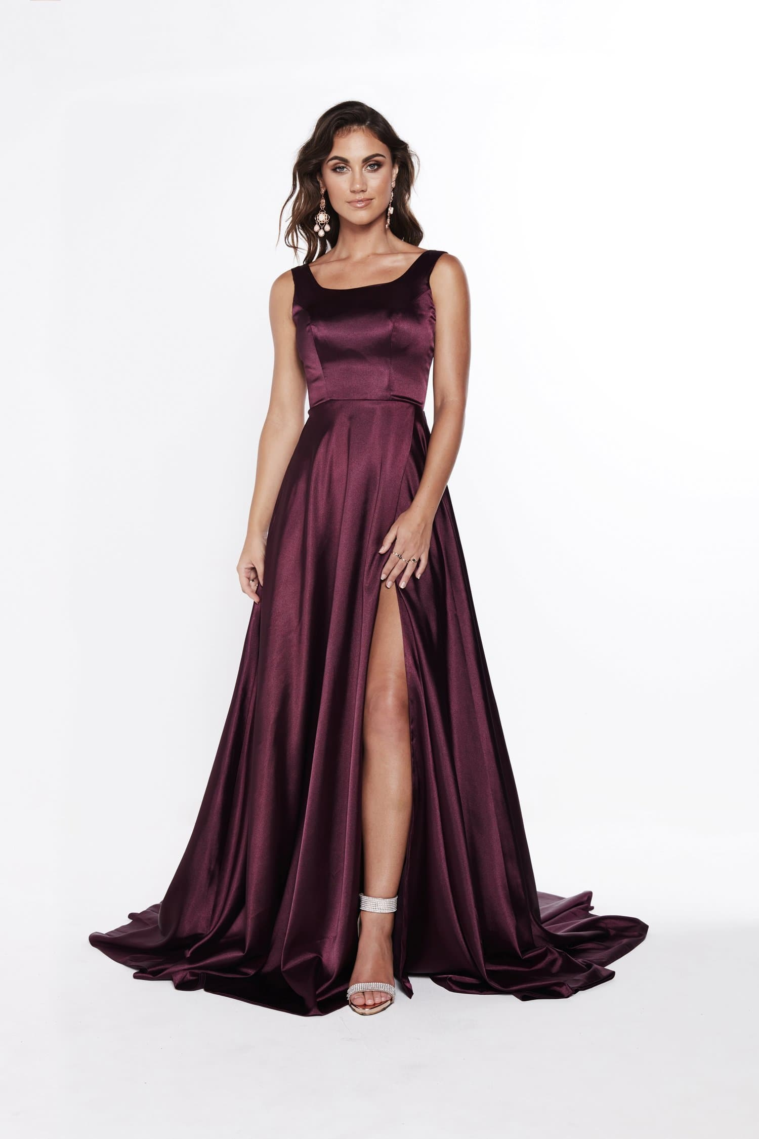 A&N Paola - Violet Satin Gown with High Neckline and Side Slit