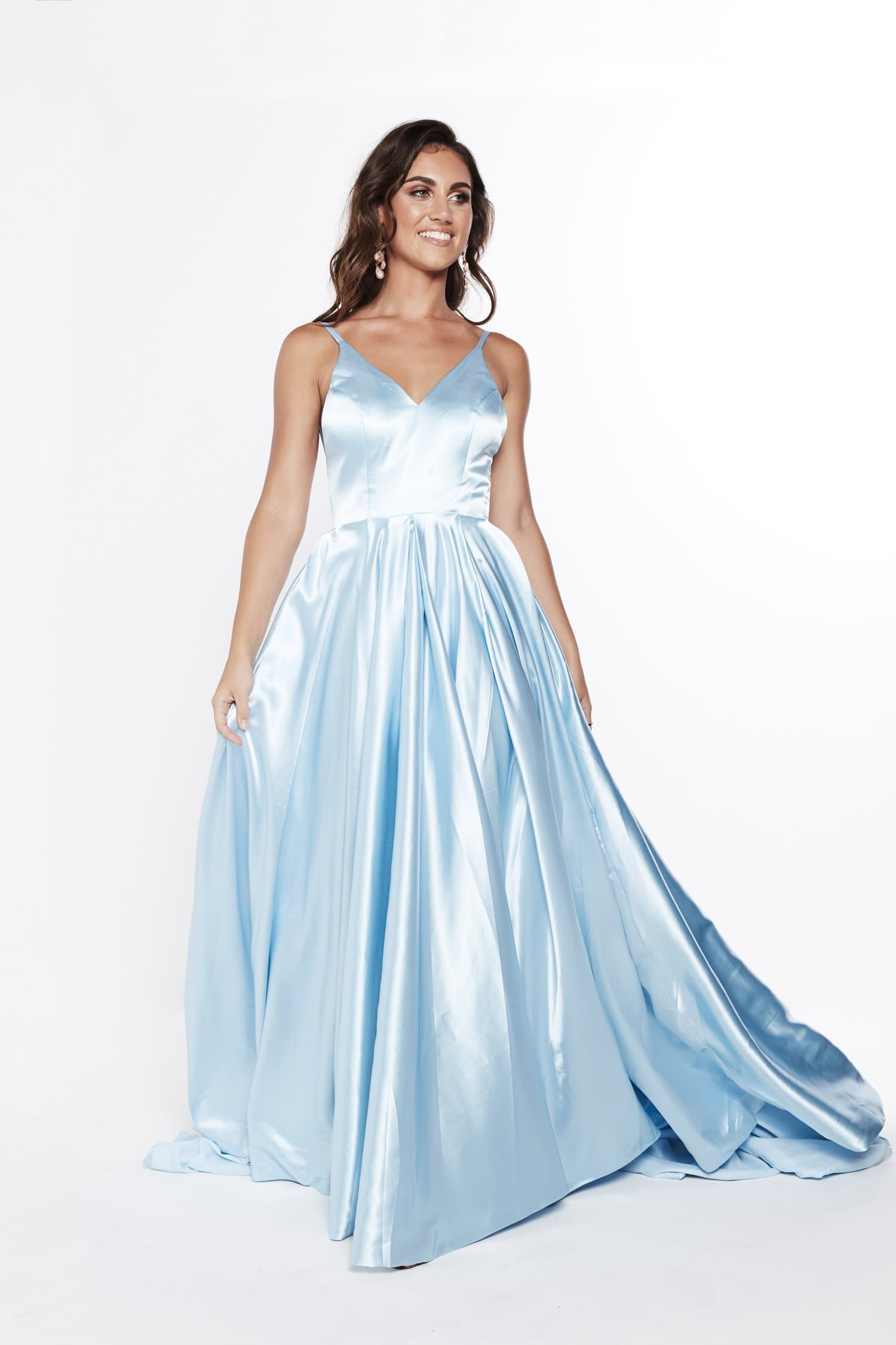 A&N Salome - Sky Blue Satin Gown with Low Back and V Neckline