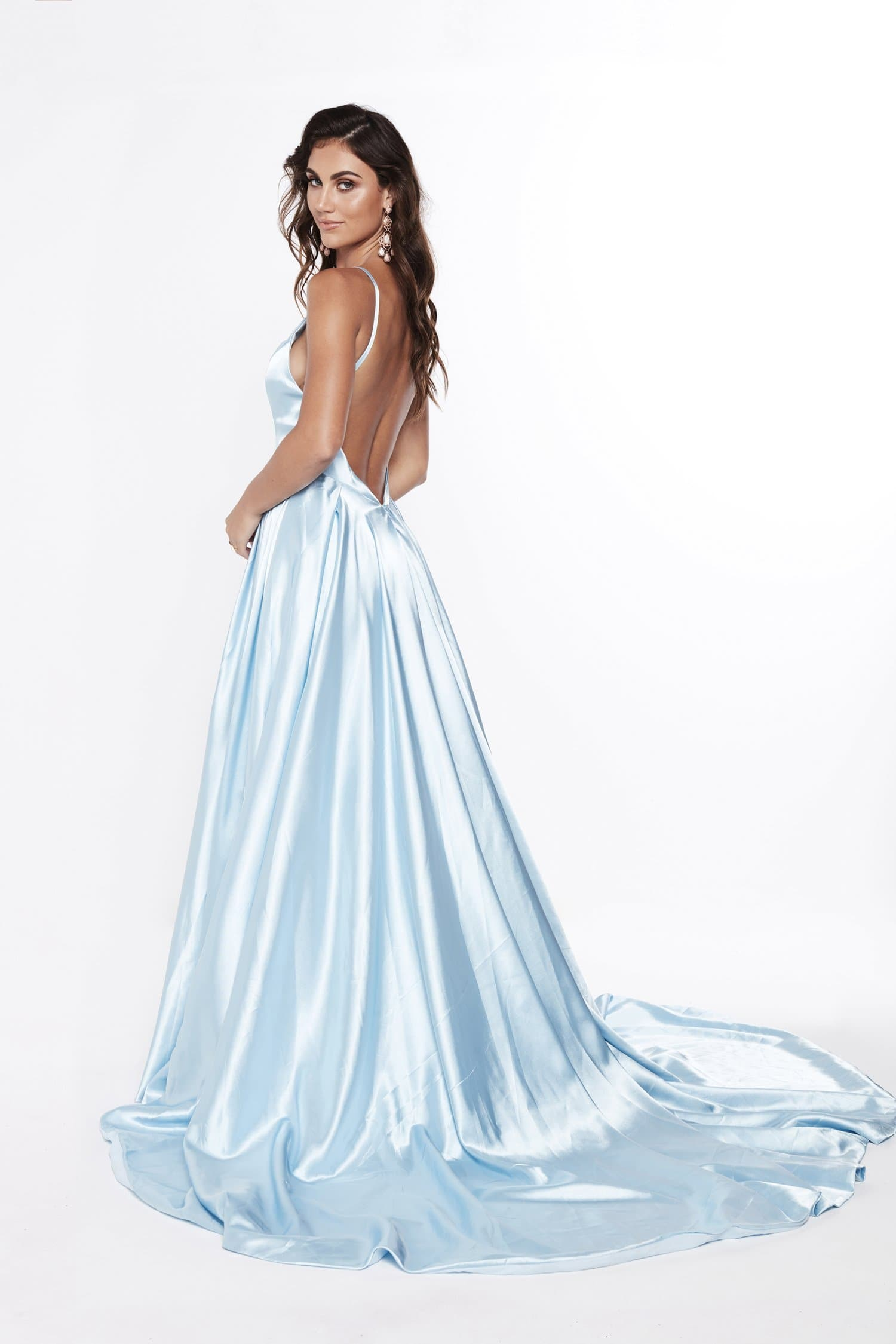 A&N Luxe Salome Satin Gown - Sky Blue