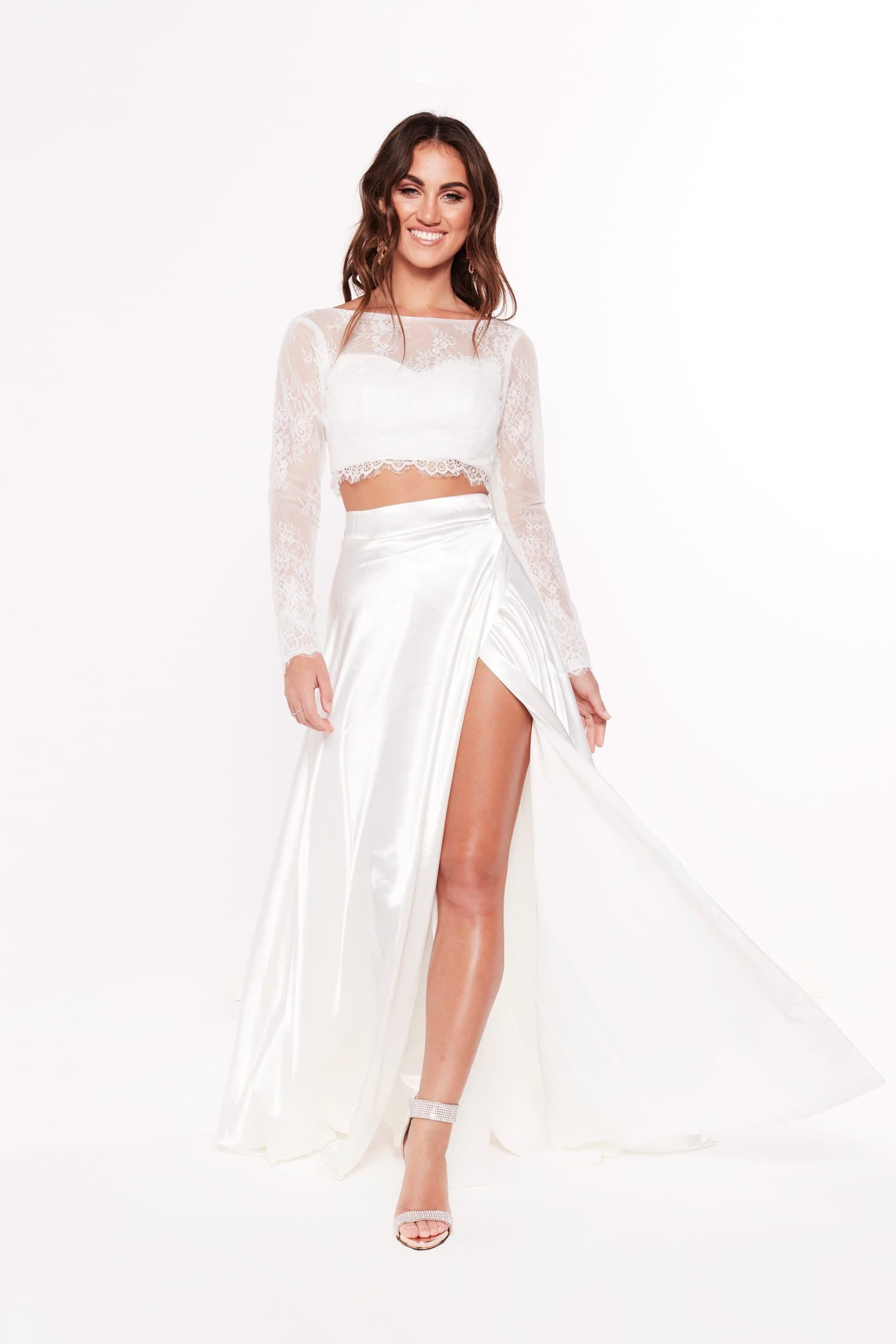 A&N Katerina - White Two Piece Gown with Long Sleeve Crop & Side Slit