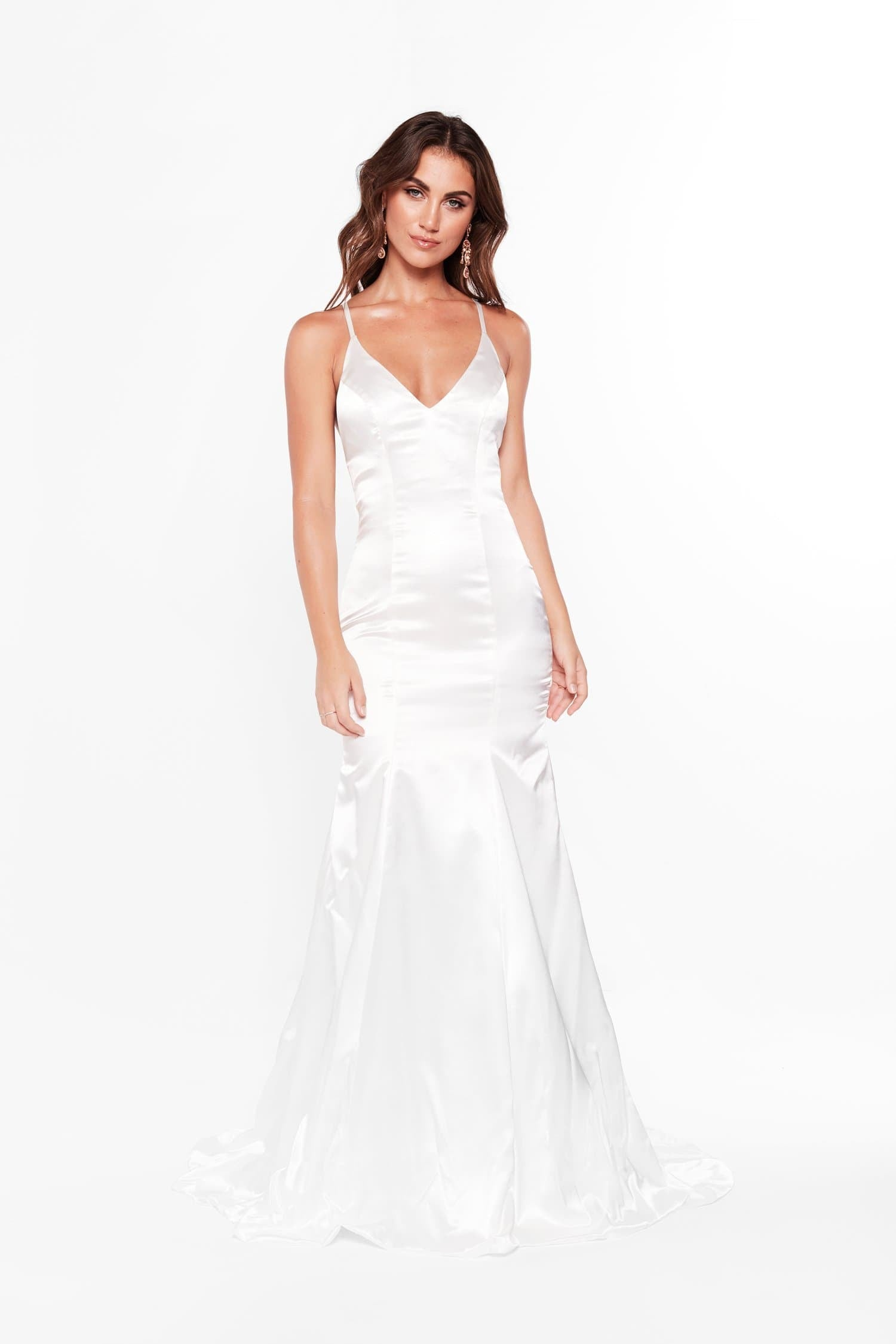 A&N Cadence - White Satin Gown with Criss Cross Back and Mermaid Train