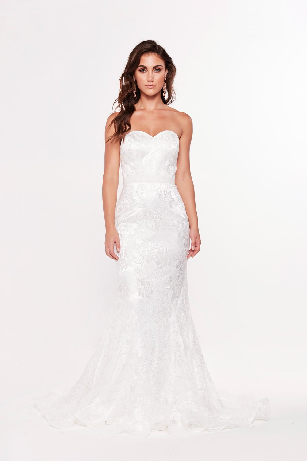 A&N Leanna - White Lace Strapless Gown with Mermaid Train