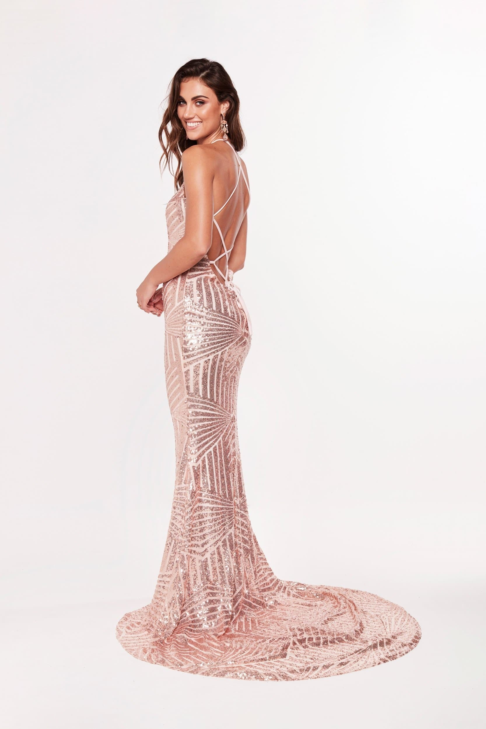 A&N Aniya Gown - High Neck Prom Dress in Rose Gold with Lace up Back ...