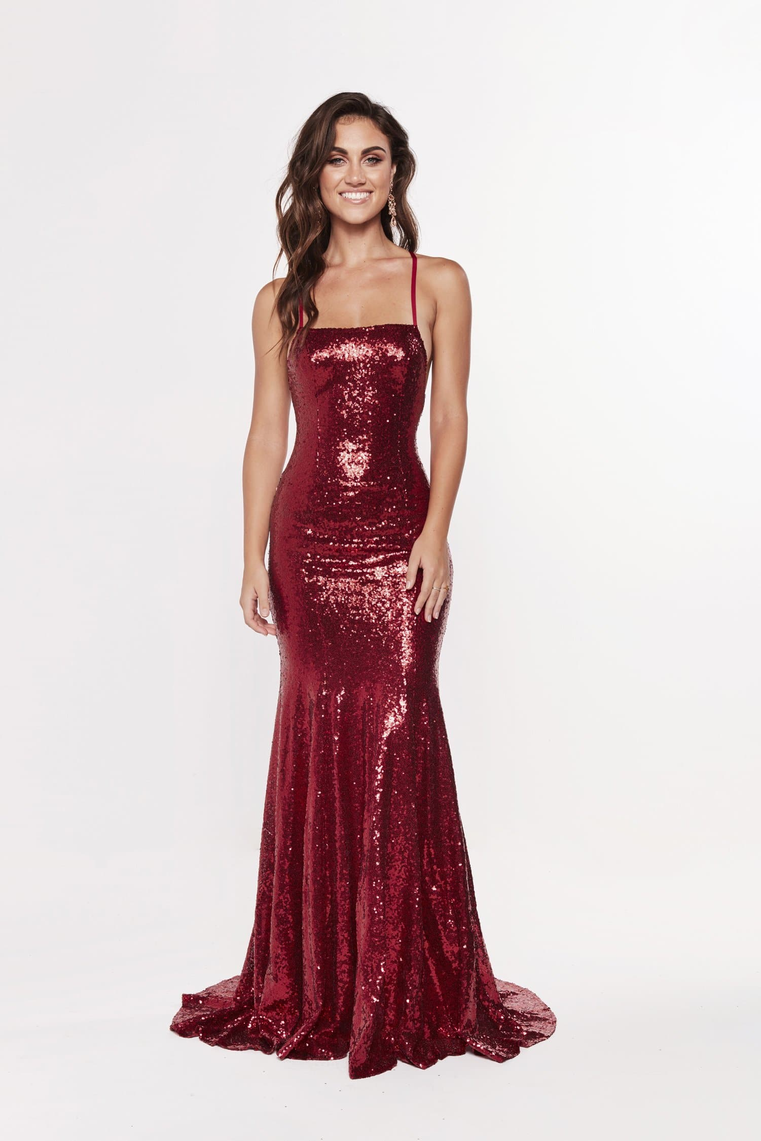 A&N Luxe Esmee Sequin Lace Up Gown - Deep Red