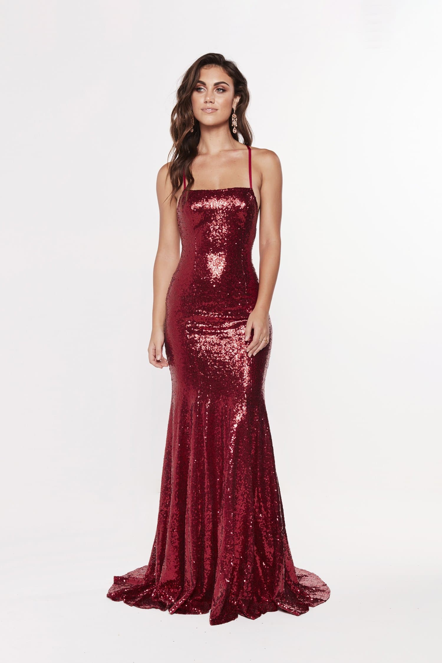 A&N Esmee - Deep Red Sequin Gown with Lace Up Back