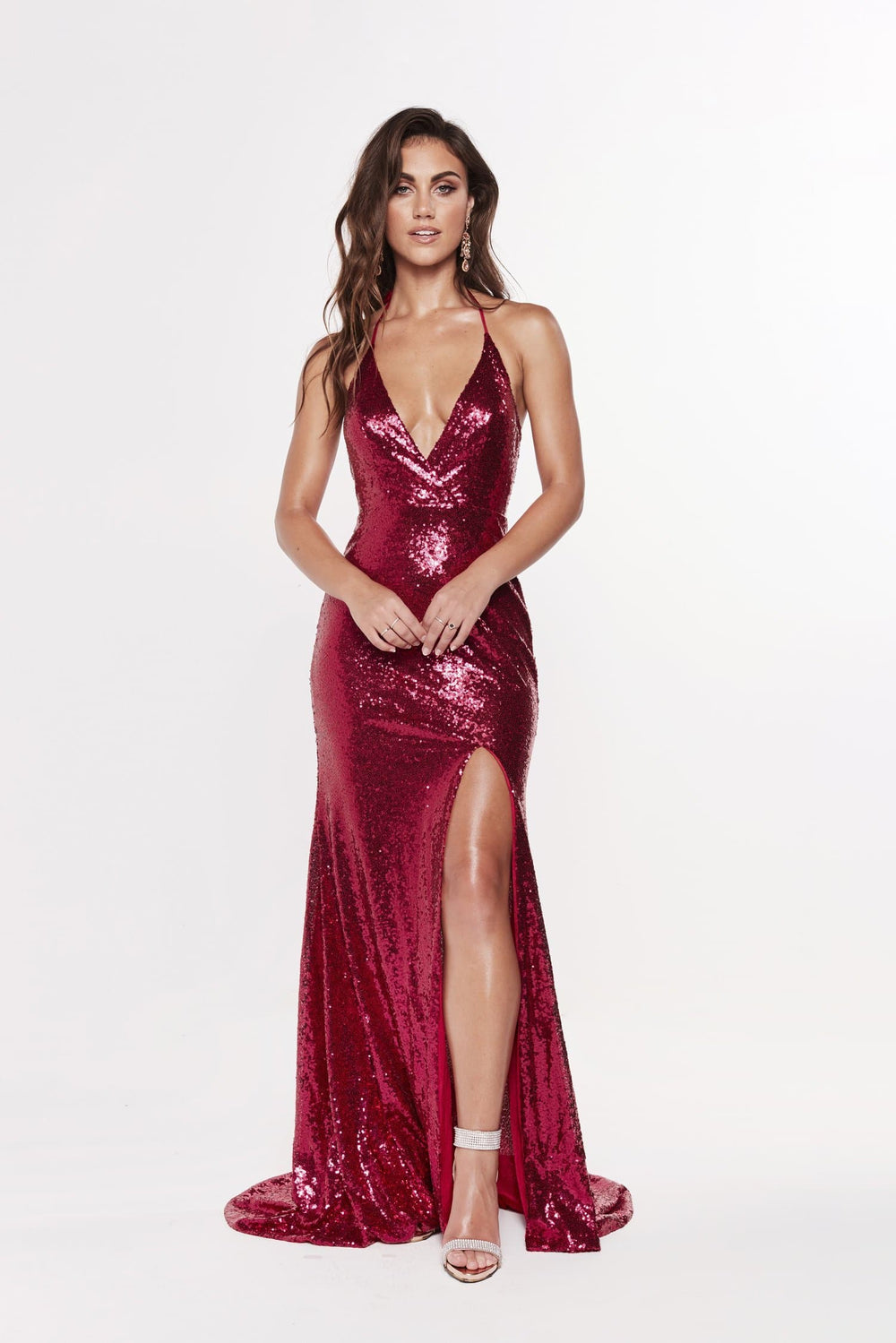 A&N Kylie- Cherry Sequin Dress with Low Back and Side Slit