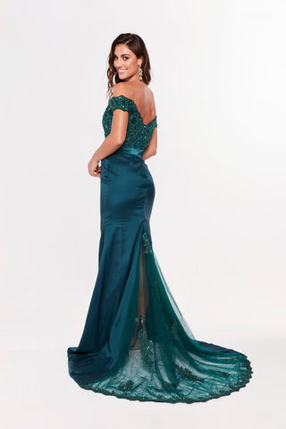 A&N Sandy - Teal Lace Gown with Off-Shoulder Straps and Beaded Bodice