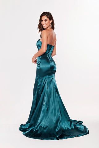 A&N Aino - Strapless Satin Gown with Mermaid Train in Teal