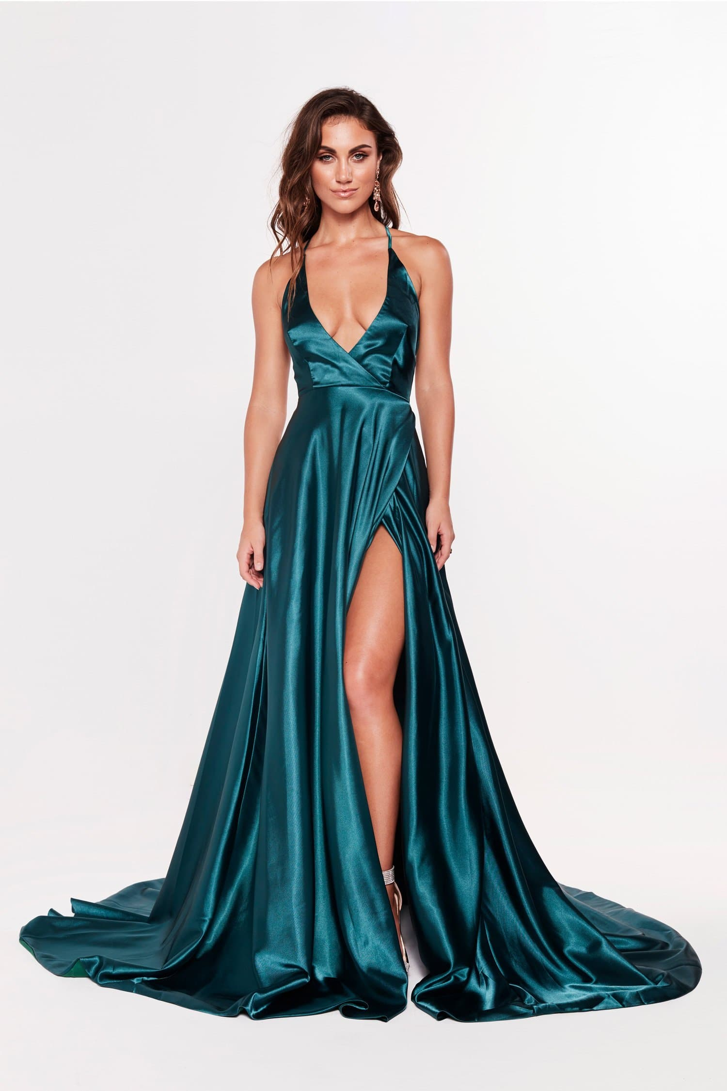 A&N Dimah - Satin Formal Gown with Plunge Neck and Side Slit
