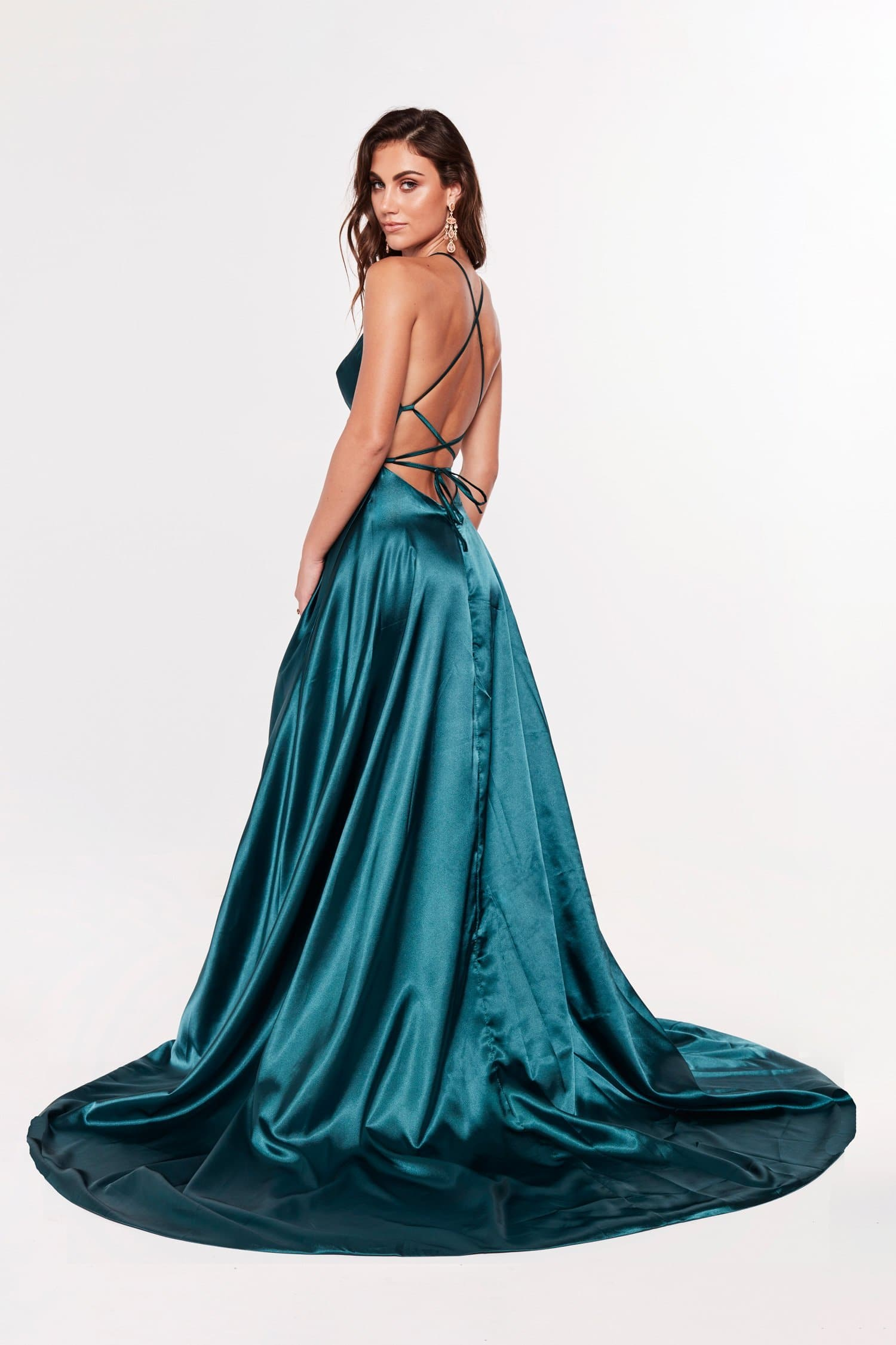 A&N Luxe Dimah Satin Lace Up Gown - Teal