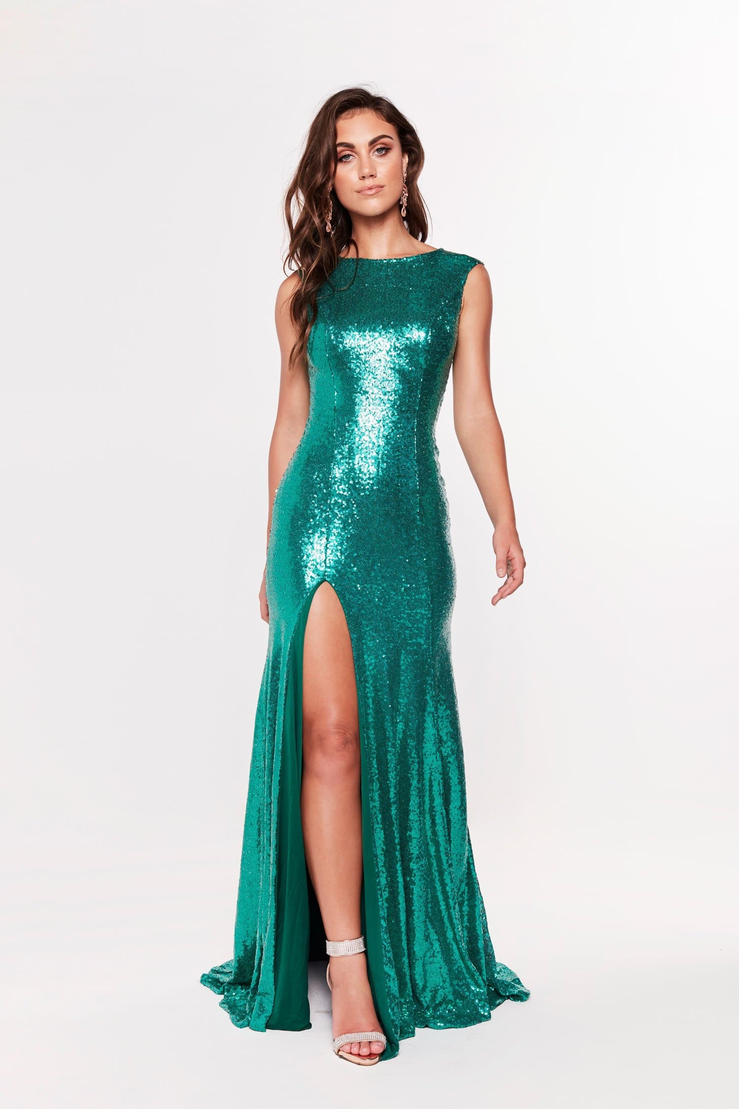 A&N Lila - High Neck Gown with Side Slit in Emerald
