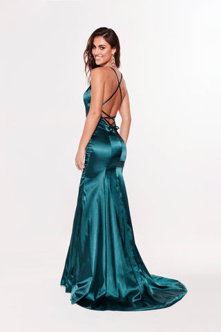 A&N Bahar - Teal Satin Gown with Lace Up Back and V Neckline