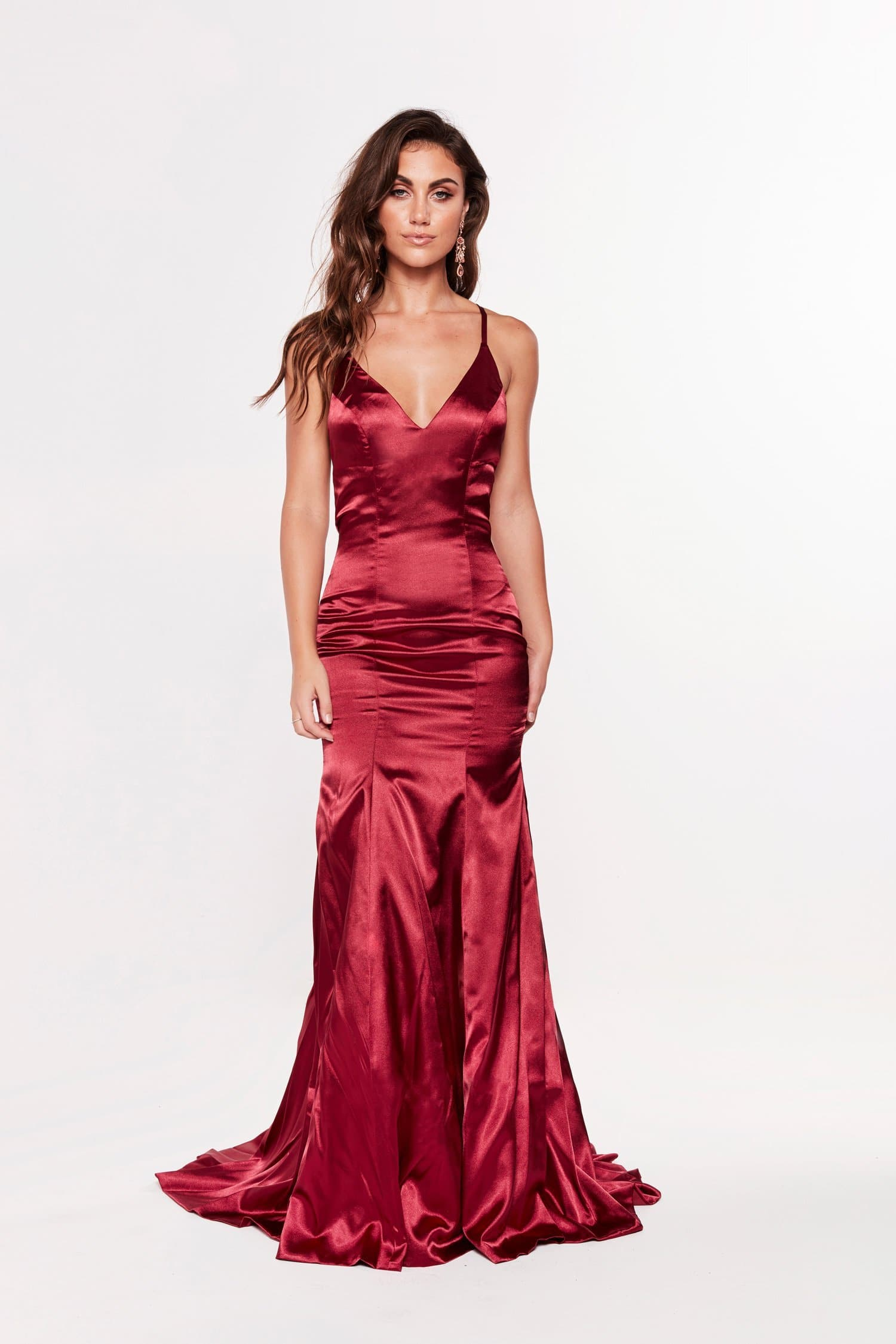 A&N Bahar - Satin Gown with Lace Up Back and V Neckline in Burgundy