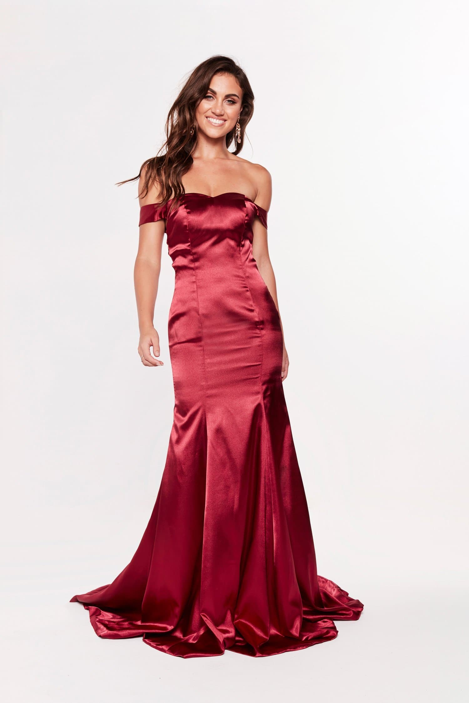 A&N Nivi - Burgundy Satin Gown with Off-Shoulder Sleeves