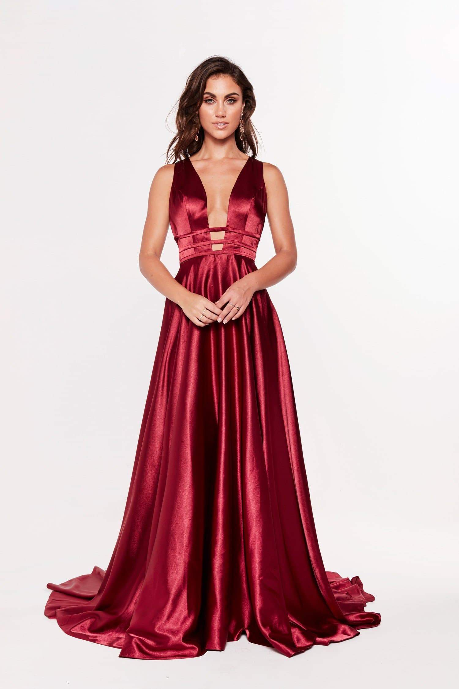 A&N Fleta - Burgundy Satin Gown with Plunging Neckline and Back Detail