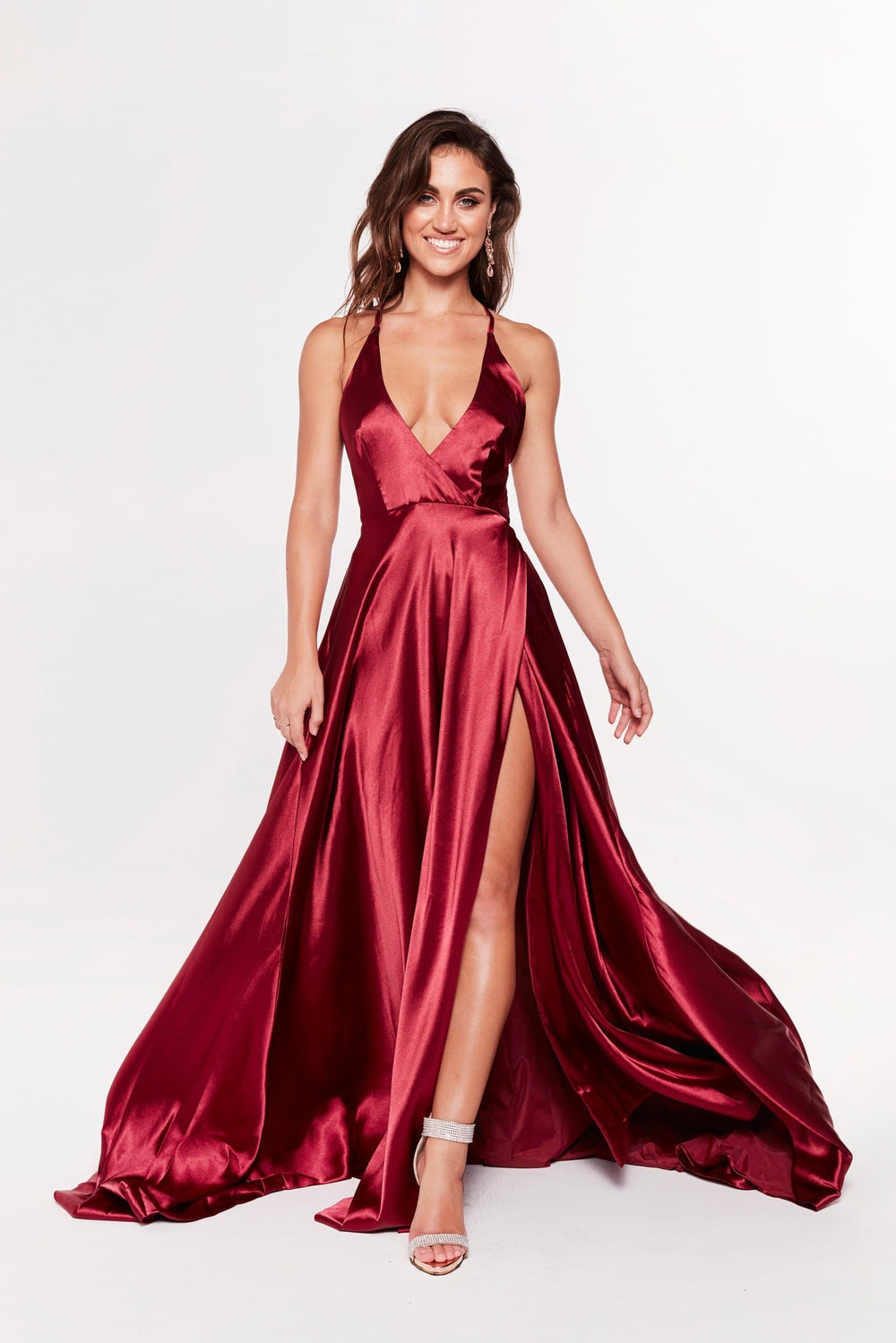 A&N Dimah - Burgundy Satin Gown with Plunge Neckline and Front Slit