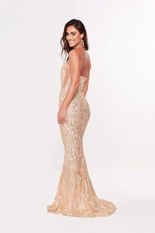 In stock - Luxe Mina Glitter Mermaid Gown - Gold