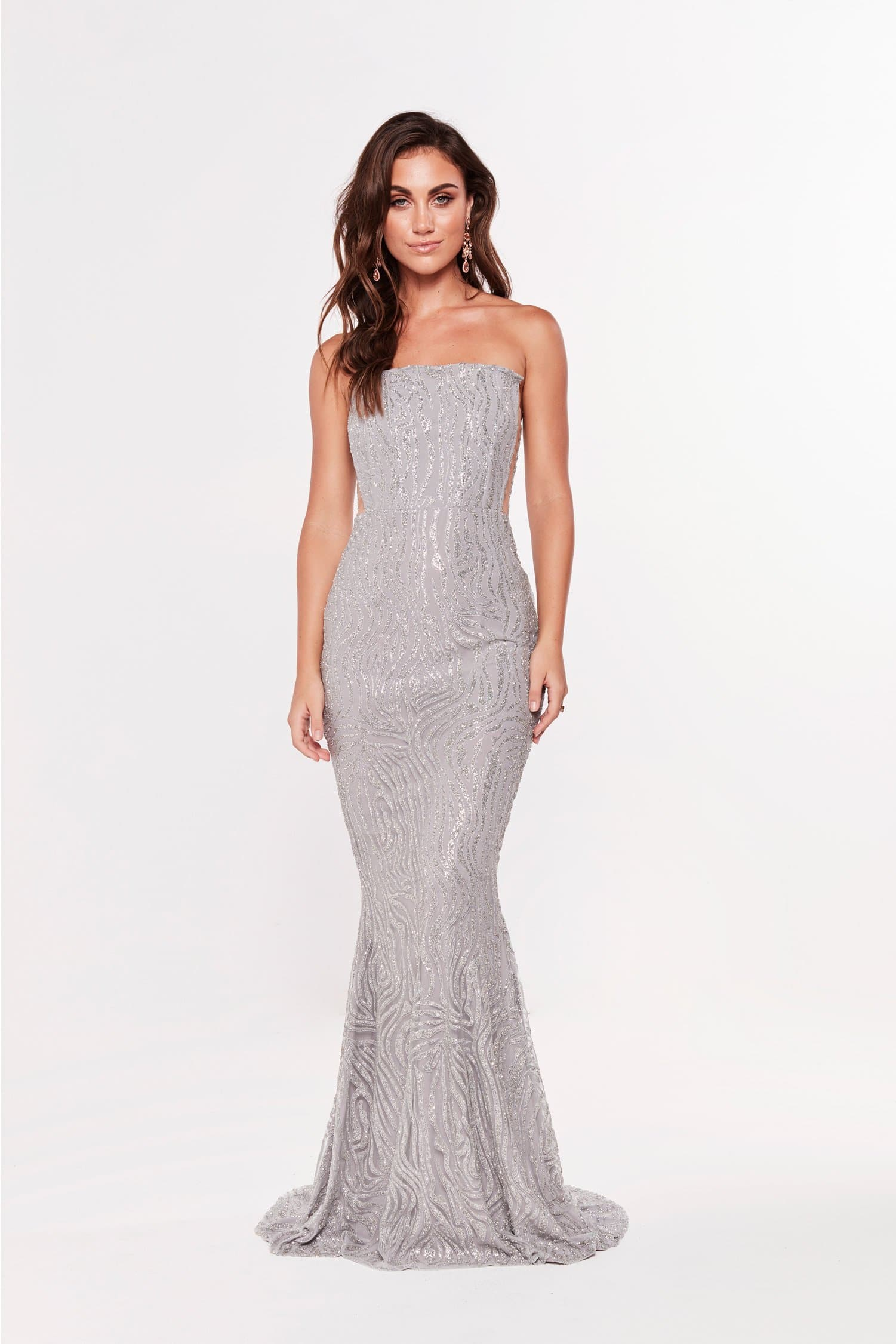 A&N Mina - Silver Glitter Strapless Gown with Side Detail