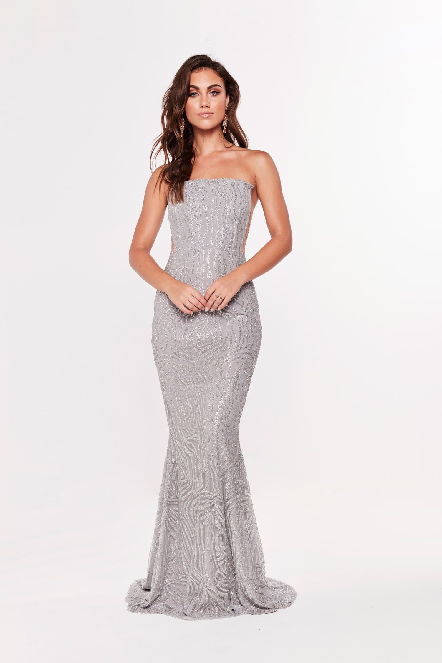 A&N Luxe Mina Glitter Mermaid Gown - Silver