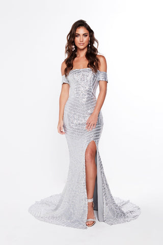 A&N Renata - Silver Sequin Gown with Off-Shoulder Straps and Side Slit