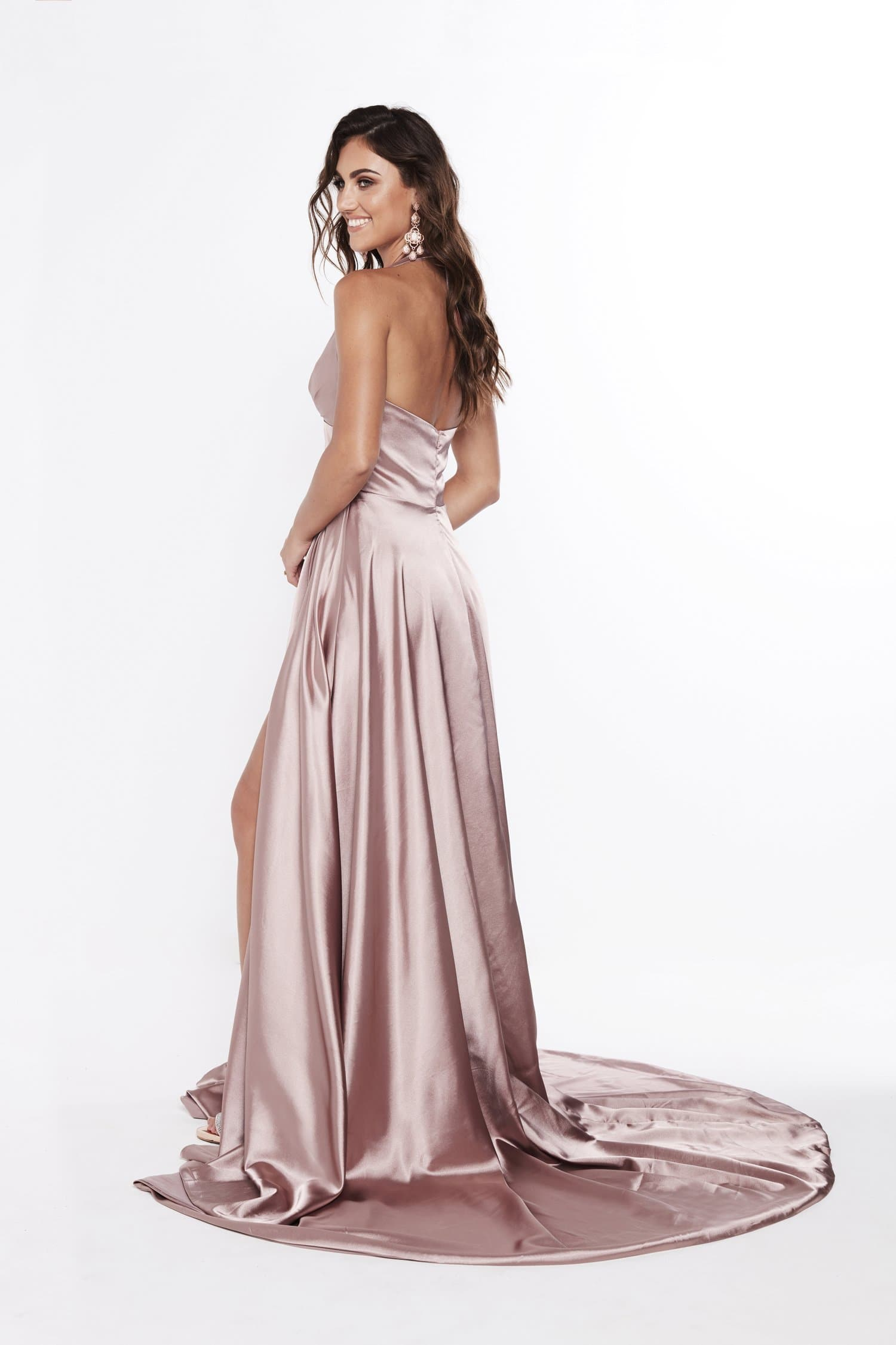 e340f578aae7c ... A&N Abigail - Mauve Halter Neck Dress with Hidden Slit and Low Back