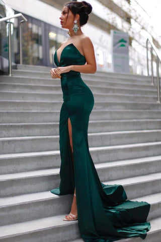 Mabelle - Emerald Satin Gown with V-Neckline & Thigh High Slit