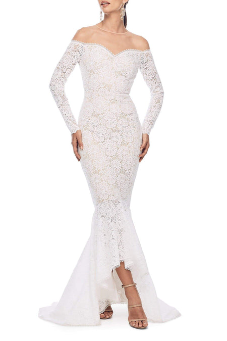 In Stock - Aisha Lace Gown - Burgundy