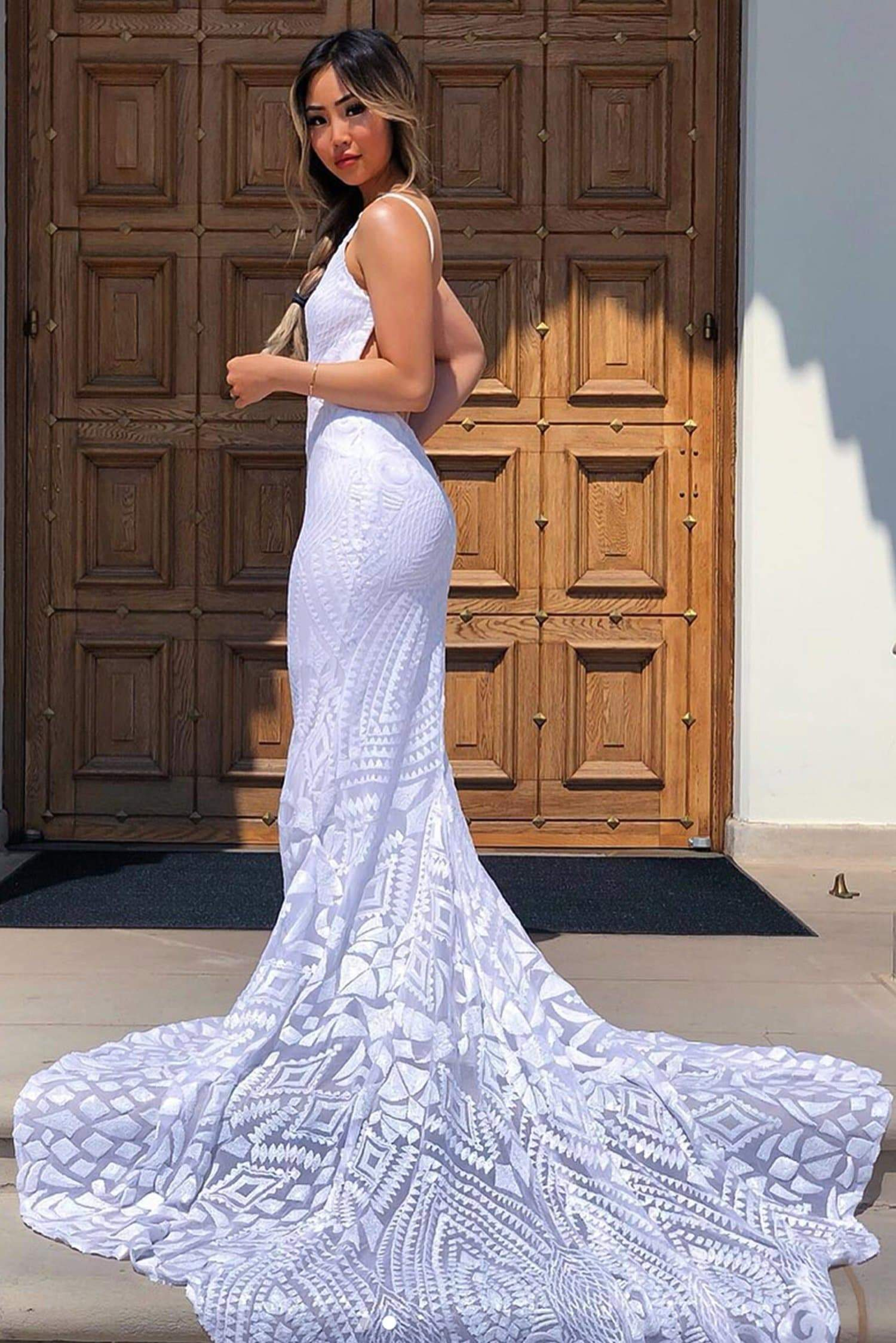 A&N Mariana - White Patterned Sequins Mermaid Gown with Low Back