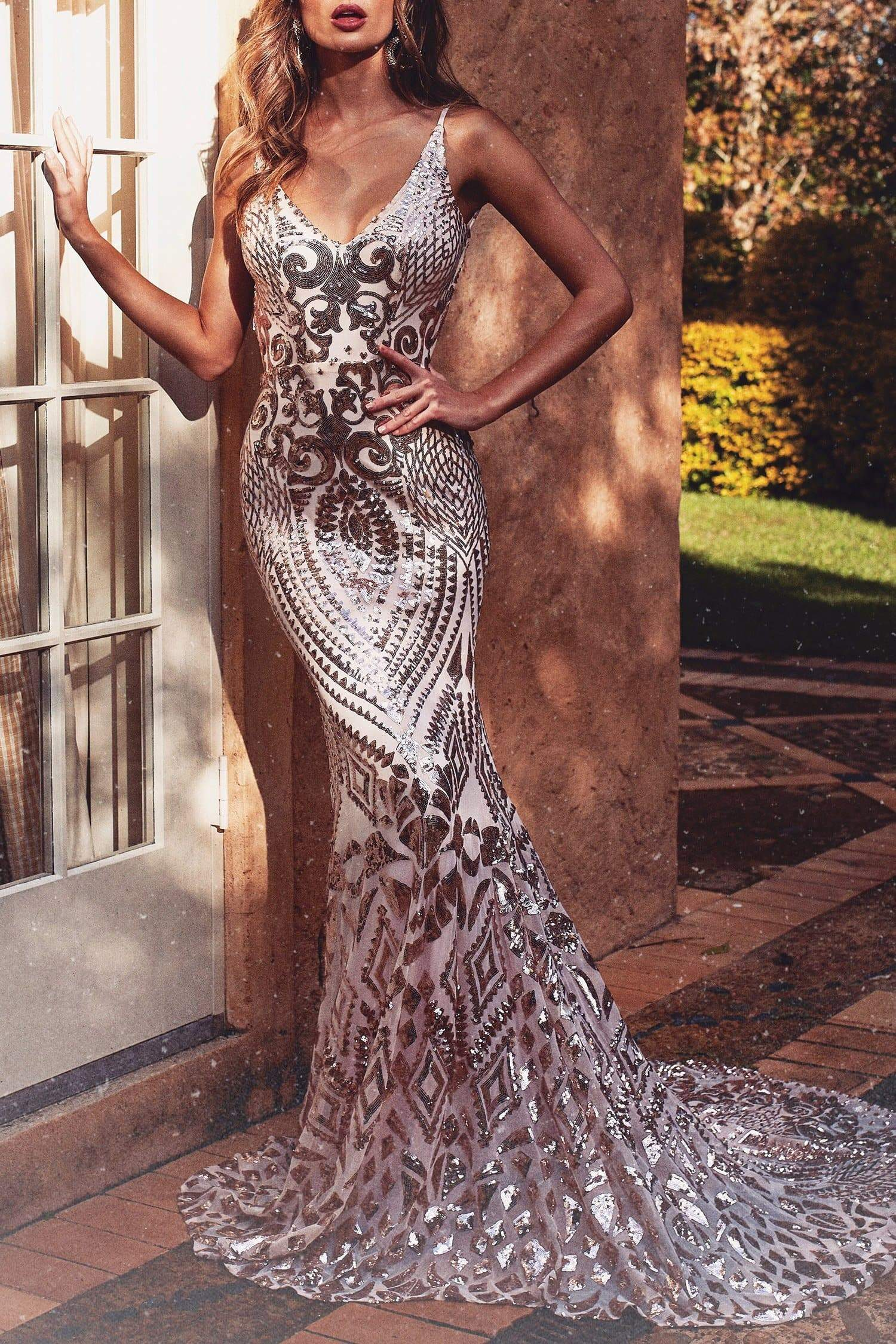 A&N Luxe Mariana Sequin Gown - Rose Gold