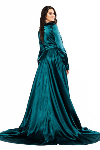 A&N Curve - Teal Paloma Satin Long Sleeve Gown with V Neckline & Slit