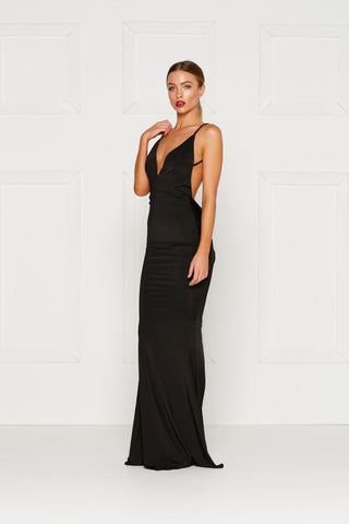 Penelope - Black Jersey Gown with Plunge Neckline & Low Back