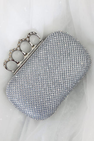 Glazori Londyn Clutch - Silver Diamante Statement Clutch