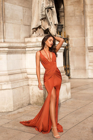 Orlena - Golden Rust Jersey Gown with Plunge Neckline & Side Slit