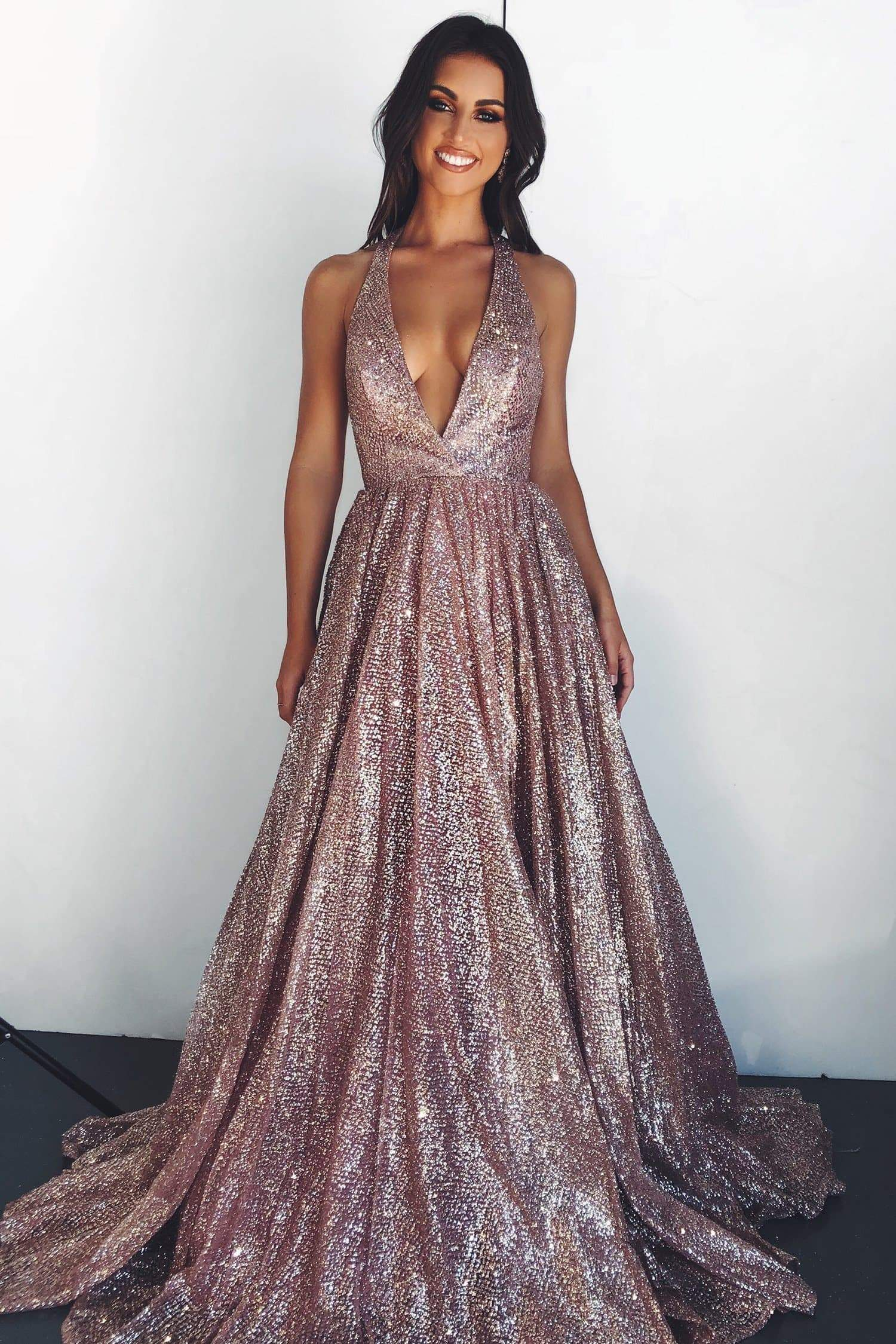 A&N Luxe Saina - Rose Gold Glitter A-Line Gown with Low Back