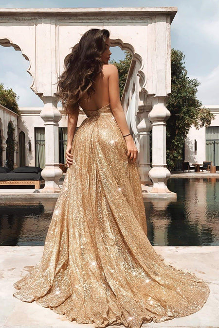A&N Luxe Kimora Sequin Gown - Gold