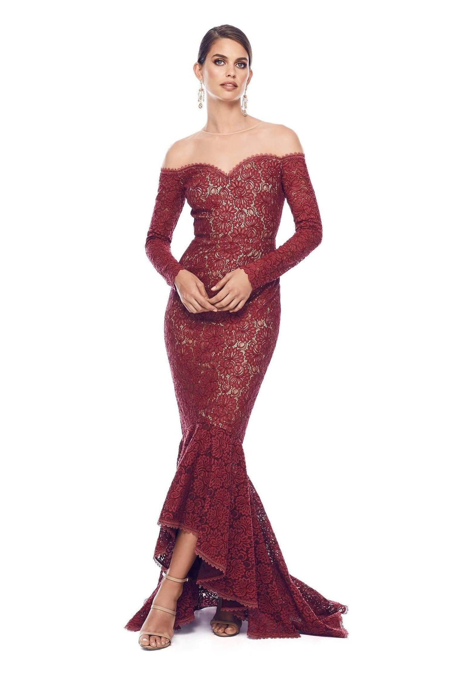 Margarita Lace Gown -  Burgundy