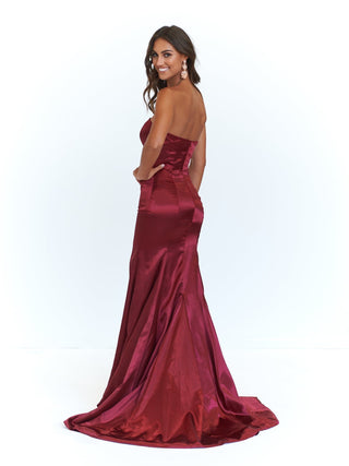 A&N Aino - Strapless Satin Gown with Mermaid Train in Burgundy
