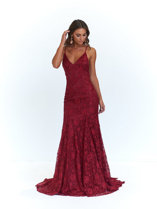 A&N Aisha - Burgundy Gown with Lace up Back and Mermaid Train