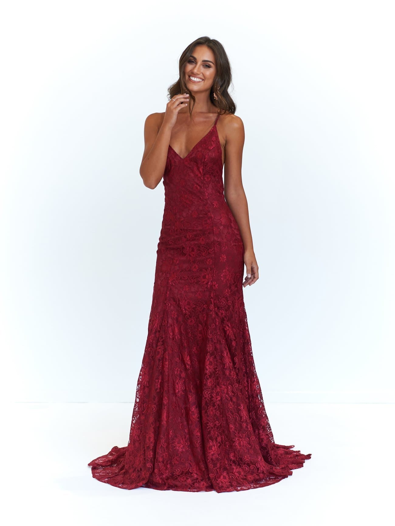 A&N Luxe Aisha Gown - Burgundy Lace Up Mermaid Gown with Low Back