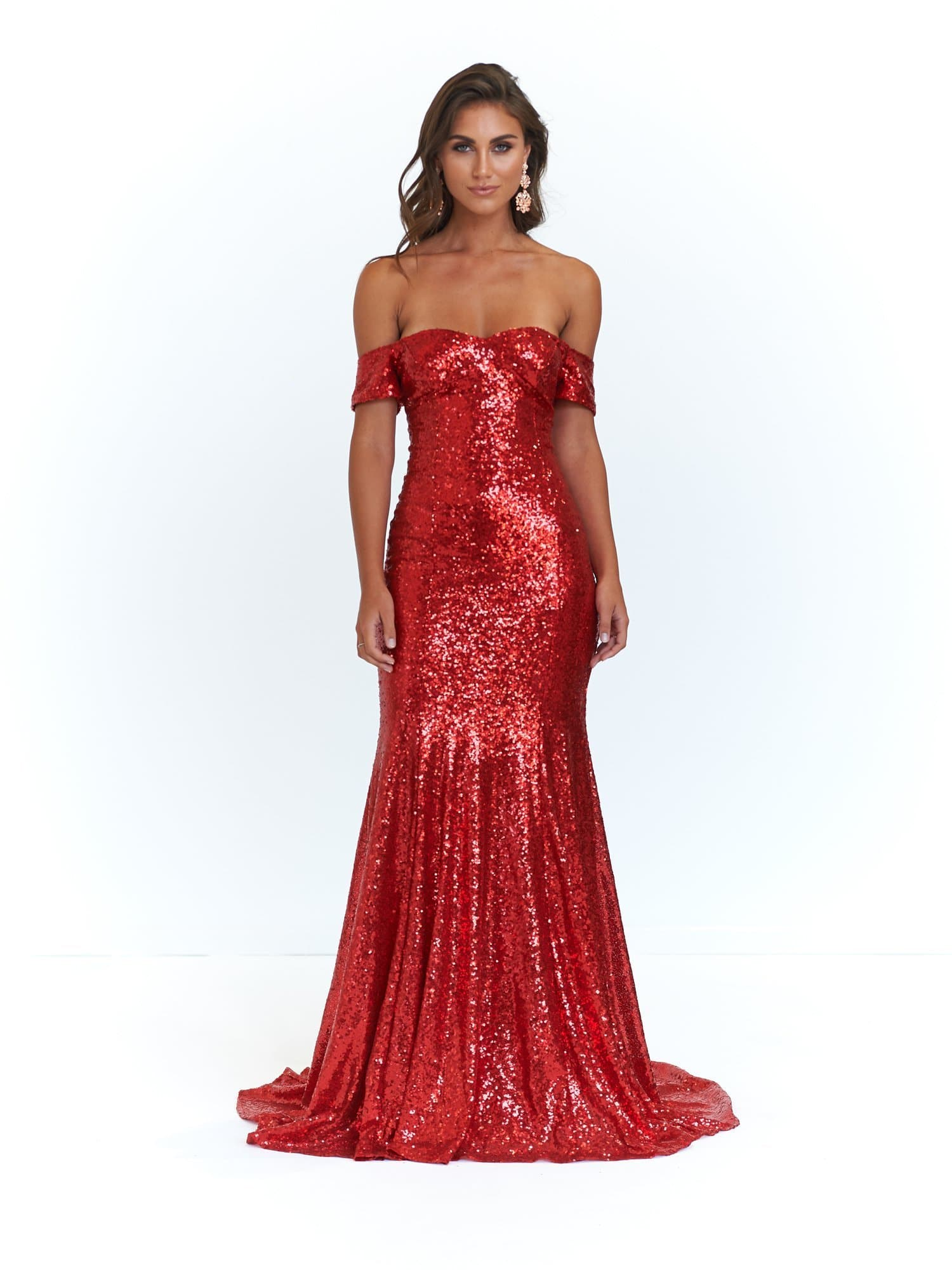 Kim Formal Dress - Red Sequins Off-Shoulder Full Length Mermaid Gown