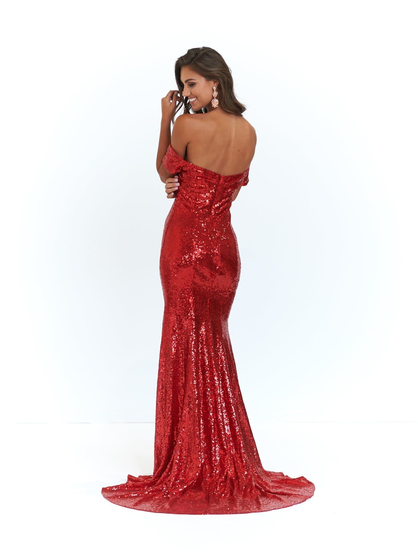 A&N Kim- Red Off-Shoulder Mermaid Fit Dress with Sequins