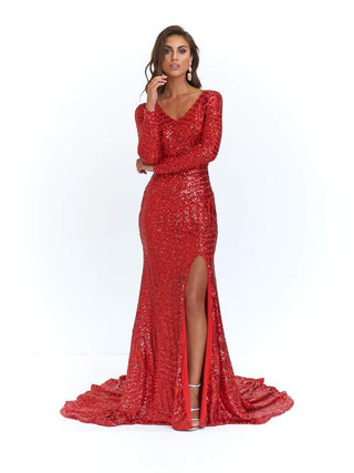 A&N Kaya Sequin Gown - Red