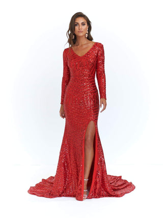 A&N Kaya - Red Sequins Dress with Long Sleeves and Side Slit