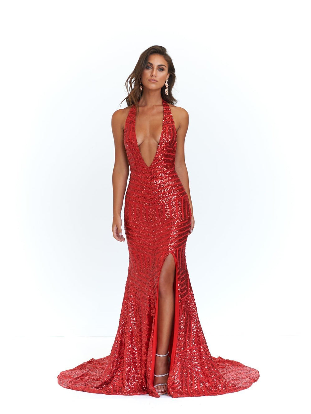 929ef07ac8bb9 A N Cleopatra - Red Sequins Dress with V Neck and Low Back – A N ...