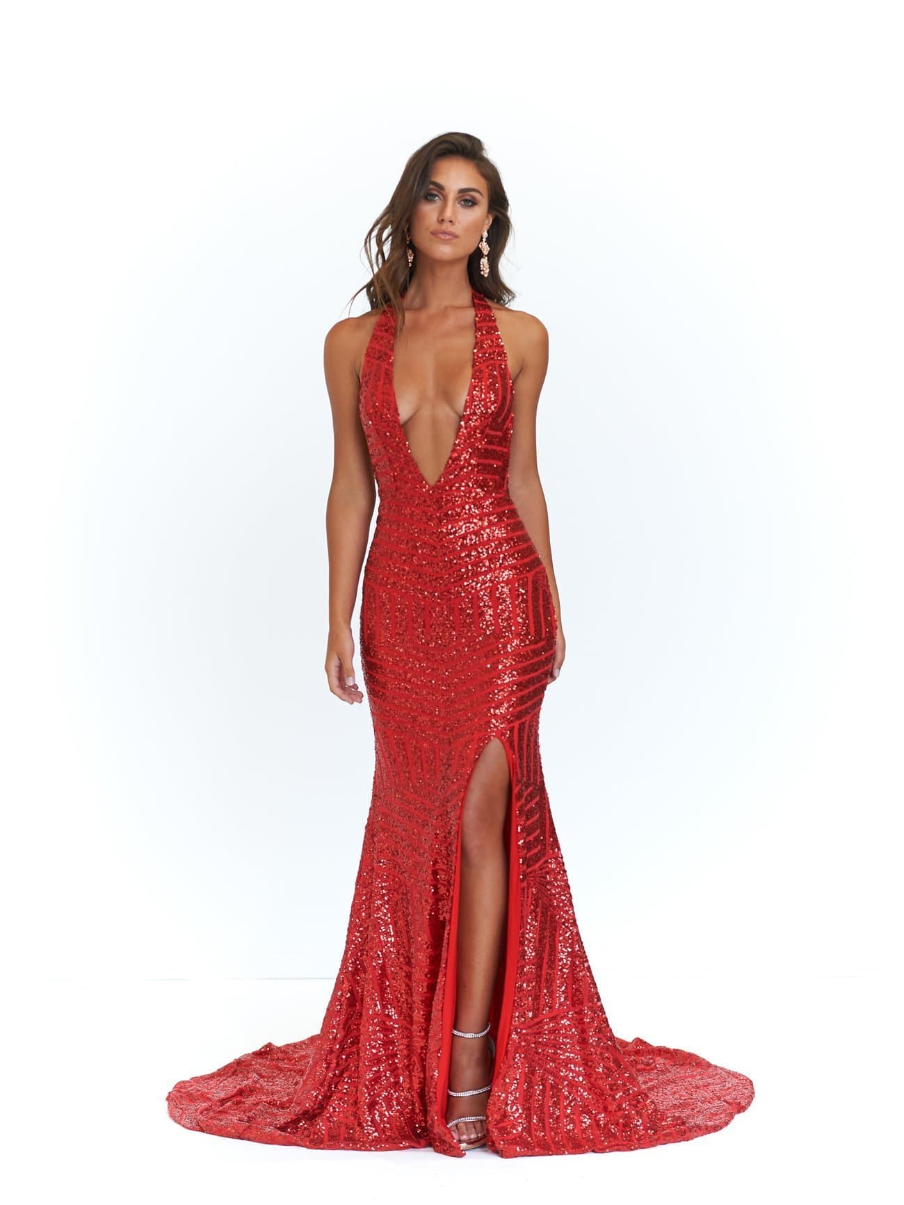 57458fb676 A N Cleopatra - Red Sequins Dress with V Neck and Low Back – A N ...