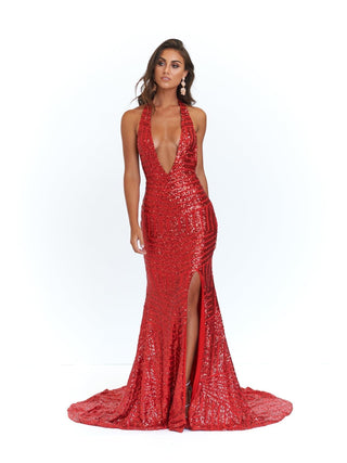 A&N Cleopatra - Red Sequins Dress with V Neck and Low Back