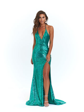A&N Kylie- Emerald Sequin Dress with Low Back and Side Slit