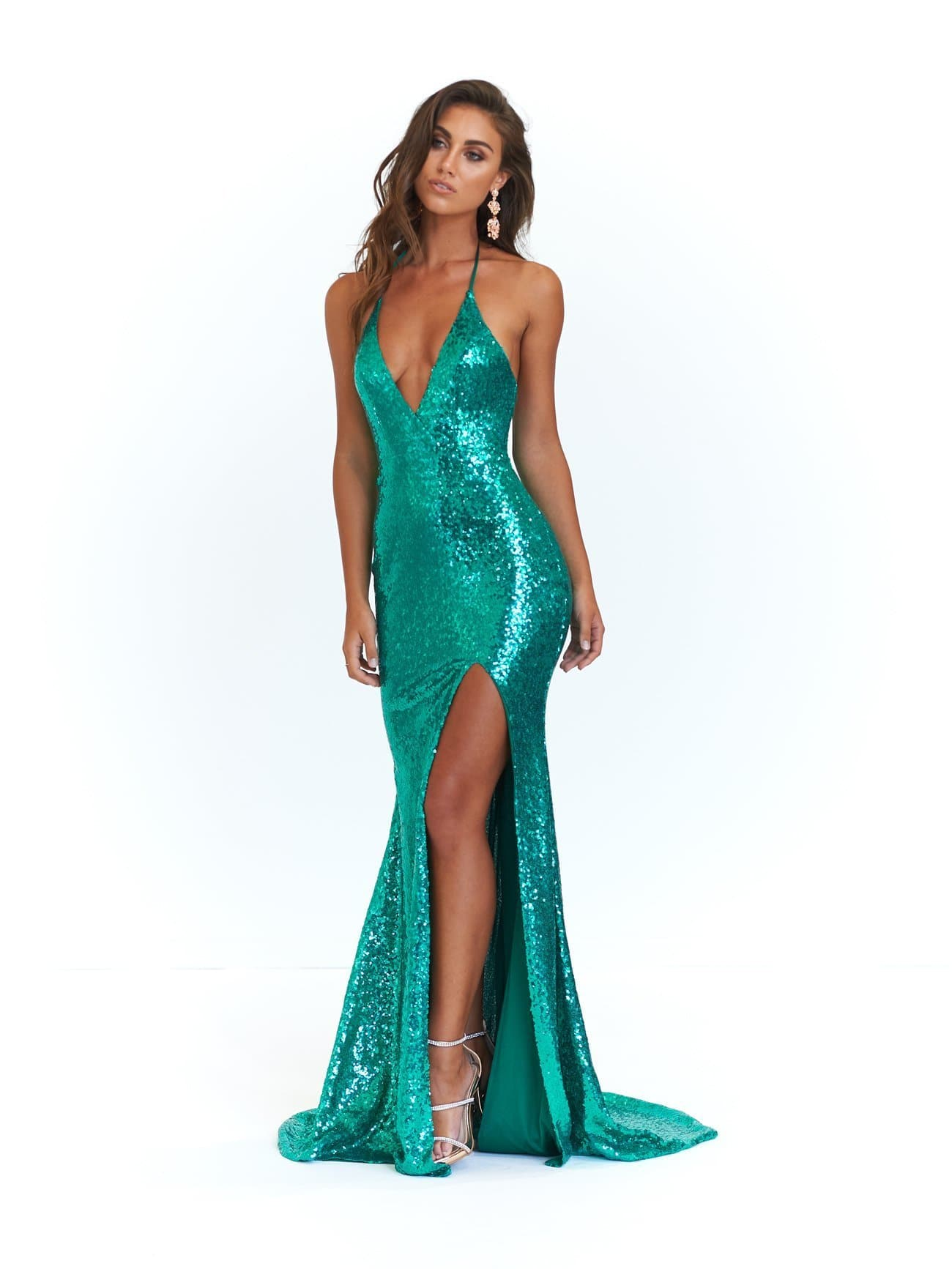 Kylie Formal Dress - Emerald Sequins Slit Mermaid Gown